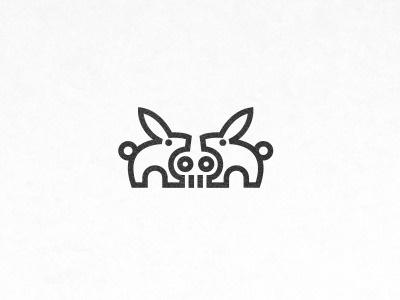 Dribbble - Dead rabbit by Deividas Bielskis #vector #line #skull #rabbit #work