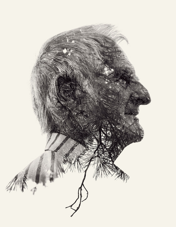 multiple exposure nature portraits by christoffer relander 04 #portrait #white #black #and
