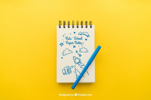 Notepad with pencil on yellow background Free Psd. See more inspiration related to Background, Paper, Doodle, Pencil, Notebook, Yellow, Note, Sketch, Drawing, Clean, Draw, Notepad, Sketchy, Note paper and Pencil drawing on Freepik.