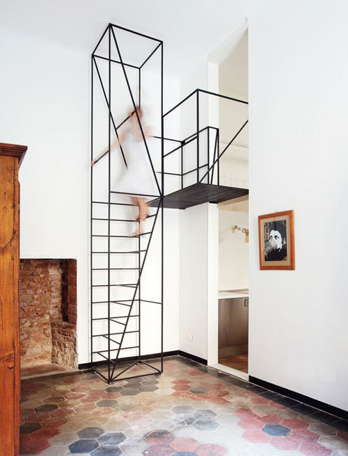 Metal Staircase by Francesco Librizzi Studio #interior #staircase #lines #geometry #construction #steps #linear #stair #metal
