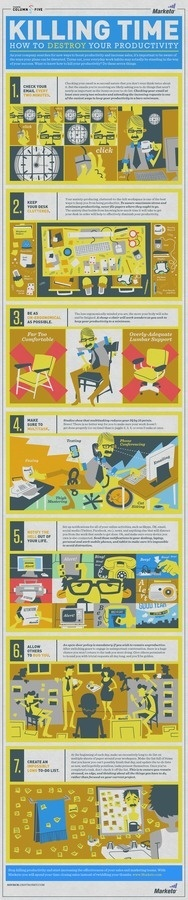 Killing-Time-How-To-Destroy-Your-Productivity-Infographic #infographic #killer #productivity #time