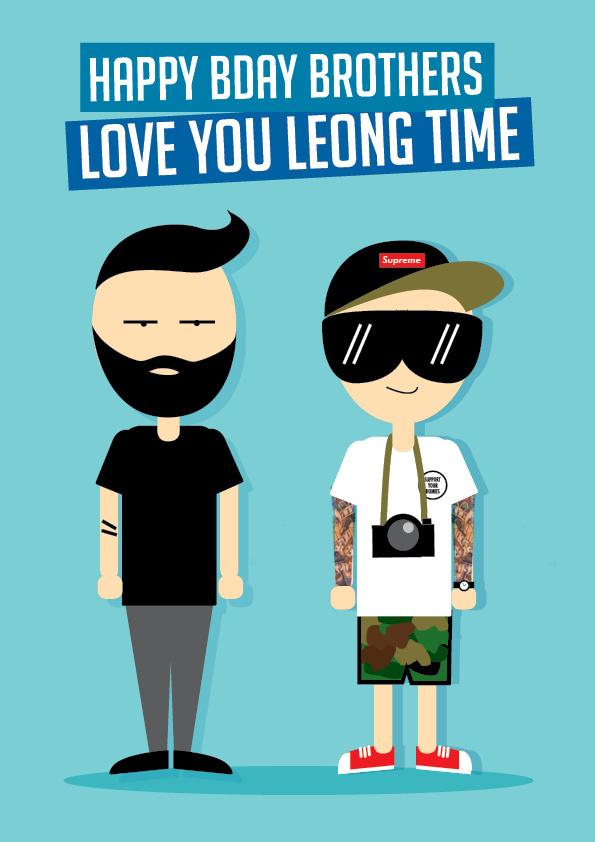 Posters Benny Moore #dontsleepmagazine #nineteenth #beard #siblings #supreme #the #illustration #birthday #poster #twins #cartoon #brothers #love #bday