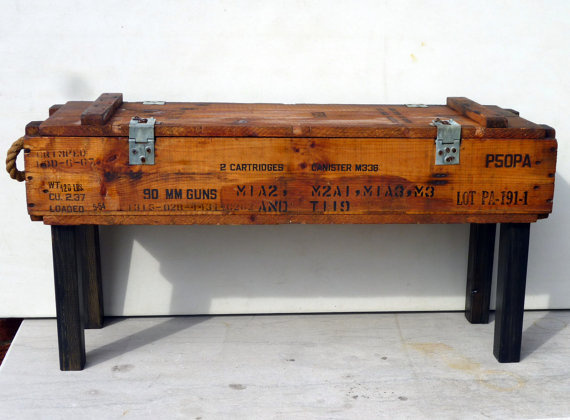 50s AMMUNITION box bench/table pine upcycle recycle rope handles and storage OOAK #recycle #box #furniture #ammunition #table