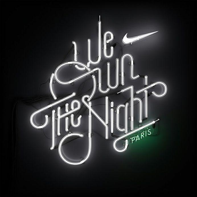 Neon signage for Nike's We Own The Night 10k Women's marathon. #typography #nike #neon #womens marathon #signage