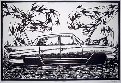 Michael Azzano: New Work 2010 #birds #relief #drawing #car