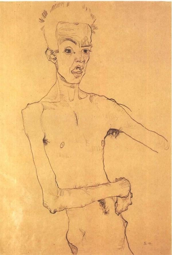 Schiele_-_Selbstbildnis-1910.jpg (imagen JPEG, 864 × 1280 píxeles) #egon #illustration #schiele