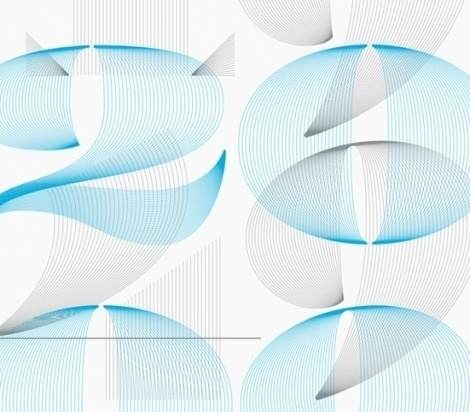 Lined numerals, by Steven Jockisch - Creative Journal #cyan #lines #grey #typography