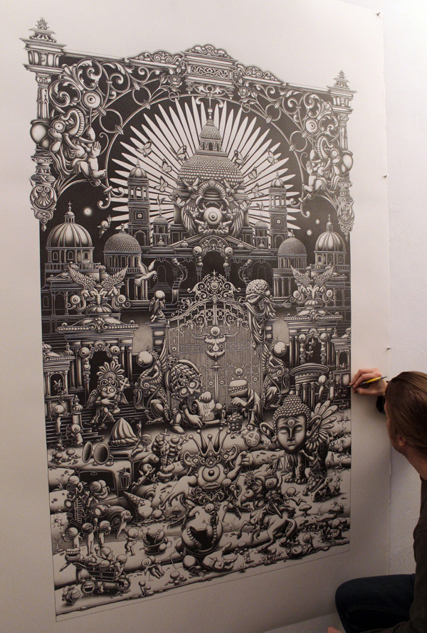 A Triptych – The Landing- 2013 – Central Panel #inspiration #pencil #drawing #art