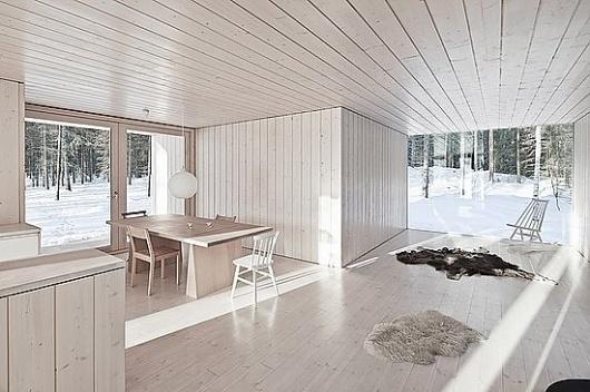 Modern four-cornered villa from Avanto Architects #avanto #four #architects #cornered #finland #wood #cottage #architecture #villa #winter