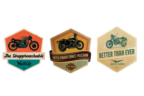 Retro Motorcycle Badges #race #moto #bike #racer #logo #font #typography #light #cool #retro #vintage #hipster #badge #caferacer #motorcycle