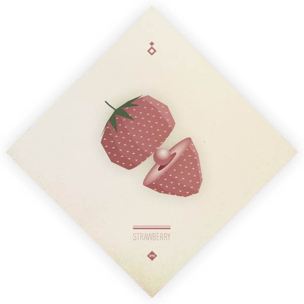 Digital Fruits - Strawberry #vector #print #fruit #strawberry #digital #illustration #poster #paper