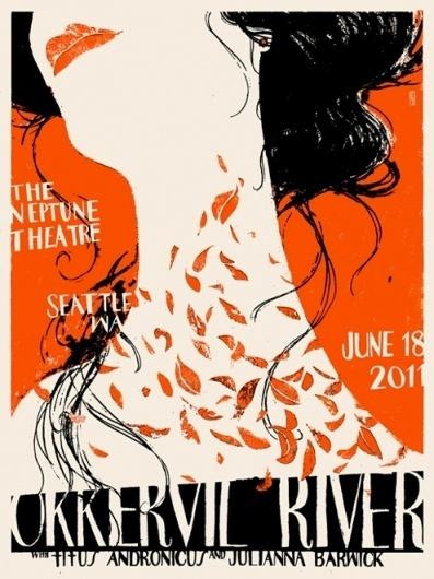 - Okkervil River (seattle) : www.leslieherman.com #leslie #herman #screenprinting #poster