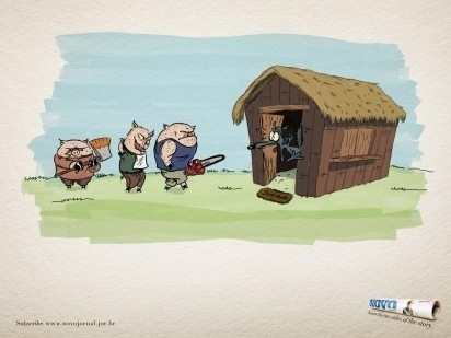 I Believe in Advertising   ONLY SELECTED ADVERTISING   Advertising Blog & Community » Novo Jornal: Three Little Pigs, Little red riding hood, Snow Wh #advertising