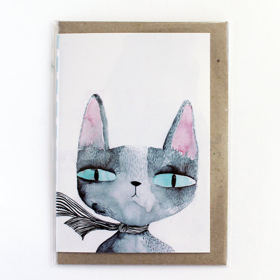 Greeting card Cat's eyes van lukaluka op Etsy #card #illustration #etsy #cat