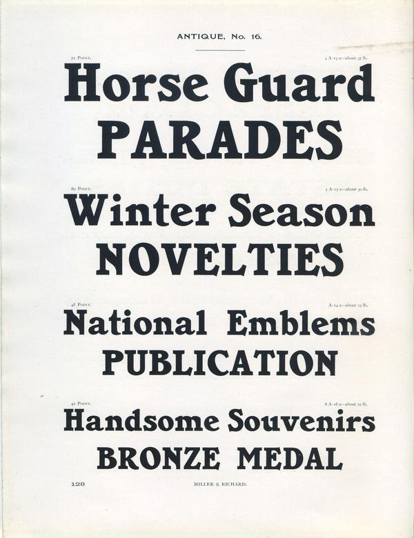 Antique No. 16 type specimen #type #specimen #typography
