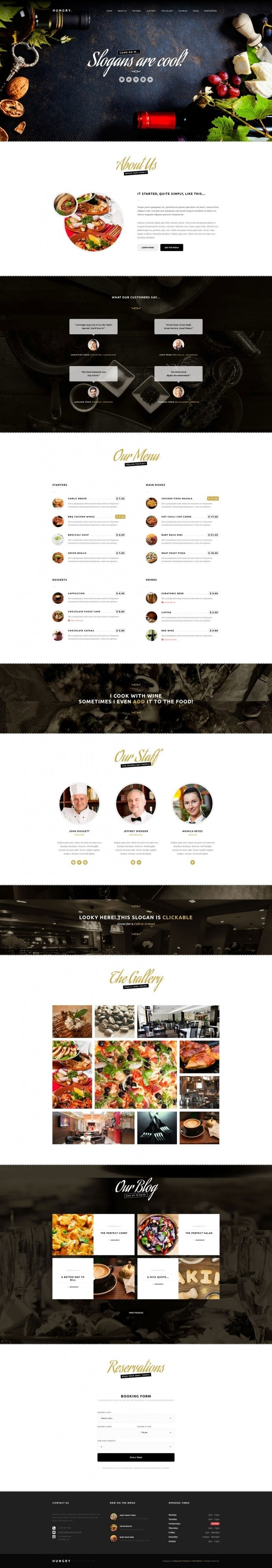Hungry – A WordPress One Page Restaurant Theme #web design #ui #ux #restaurant