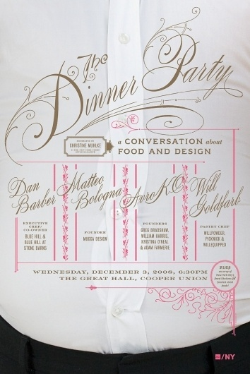 Mucca   Work   AIGA Dinner Party #invitation #script #poster #typography