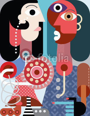 A man with beard and a woman with roller skate - contemporary abstract art vector illustration. #couple #eye #male #illustration #pipe #plain #relation #hand #fine #abstract #design #romance #man #face #boot #female #beard #two #finger #blue #vector #woman #roller #graphic #person #people #hair #skating #portrait #skates #art #leisure #dress
