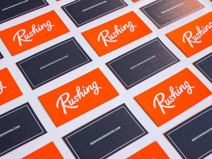 Chris Rushing's new business cards #emboss #chris #lettering #business #rushing #orange #deboss #cards
