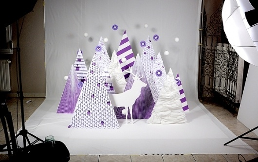 Purple Wishes on the Behance Network #hand #landscape #purple #made #object #paper