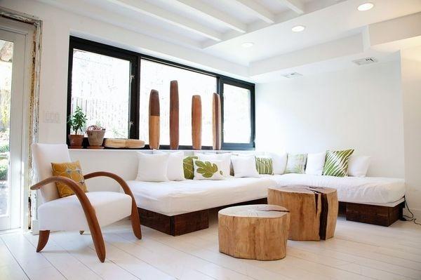 Lyndsay Caleo's home with wood stumps #wood #furniture #stumps