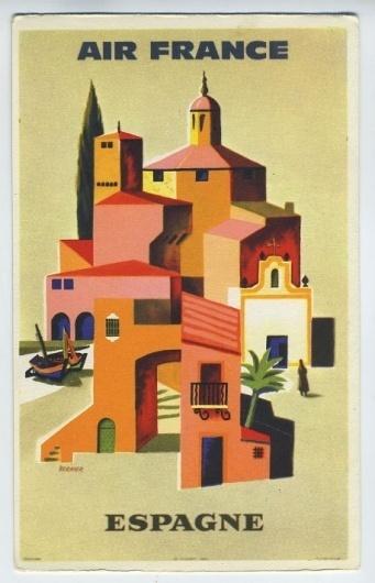 Air France airline airplane 1960 poster postcard SPAIN | eBay #illustration #spain #postcard
