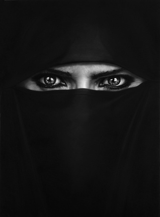 ROBERT LONGO - Works - THE MYSTERIES, 2009 - Untitled (My wife, barbara, in a burka) #longo #burka #charcoal #robert