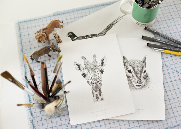 workspace - ceciliahedin.com #workspace #giraffe #illustration #desk #animals #drawing
