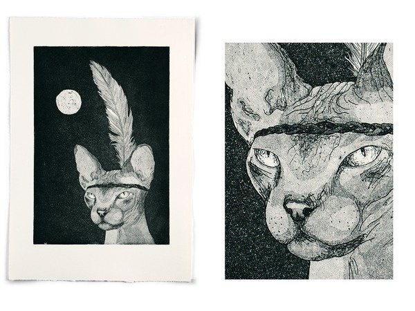 the chief | art knock life #navahos #cat #natives #night #indian #illustration #cats #etching #sphinx #chief #animal #americans #native #moon