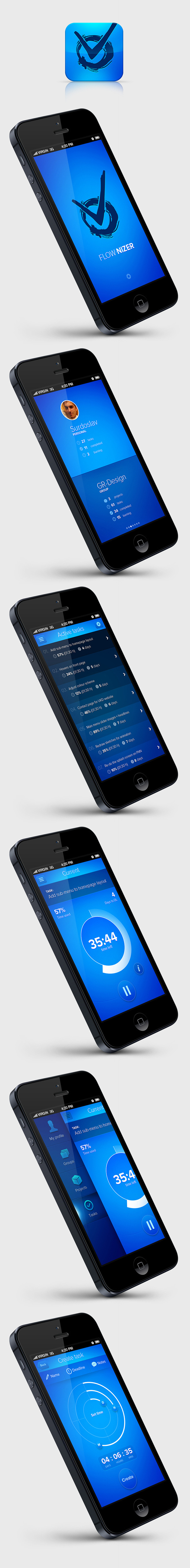FLOW.NIZER concept app on Behance #ios #app #ui