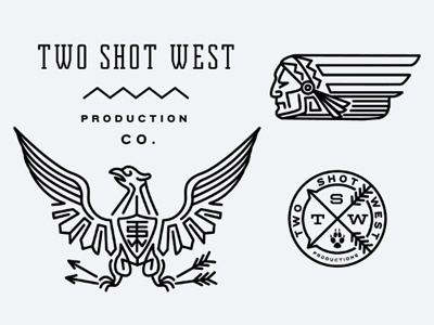 Dribbble - TwoShotWest by Keith Davis Young #west #eagle #arrow #logo #chief