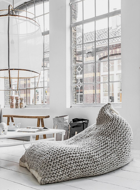 Zilalila nest bean bags are made of the finest New-Zealand wool, lovingly knitted by women in Nepal who are working on fair trade principles #interior #lamp #white #textiles #bag