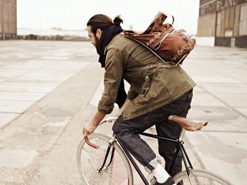 man #jacket #outside #backpack #bycicle #fashion #man