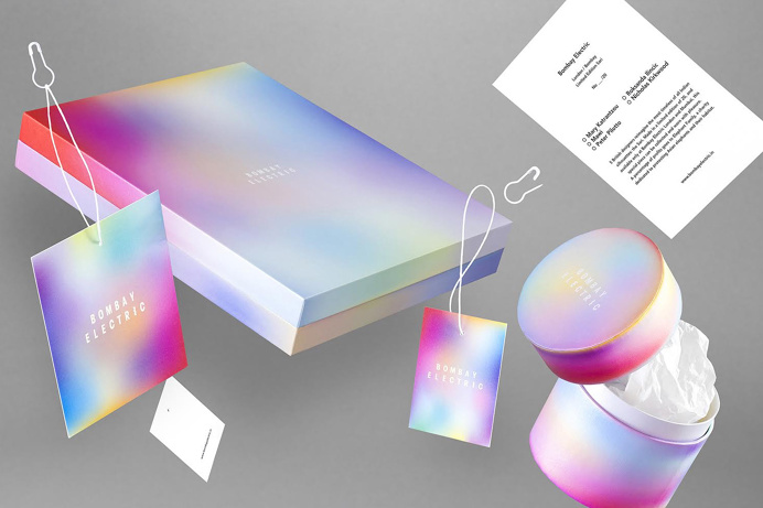 bombay electric colorful packaging color fade branding visual corporate identity fashion box minimal luxury deluxe design inspiration by des