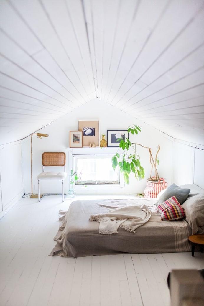 Attic bedroom. Via designsponge.com. #bedroom #attic