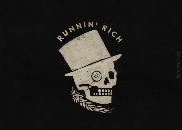 Runnin' Rich by The Factory Kids #ink #illustration #handmade #vintage #thefactorykids #skull #motorcycle