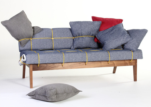 Bungy Sofa with yellow elastic cord by Leala Dymond #furniture