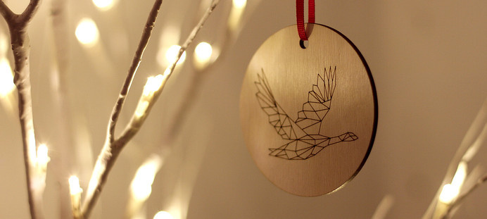 Kaldor Design Christmas Ornament #cut #design #pixelated #laser #christmas #ornament #birch #plywood