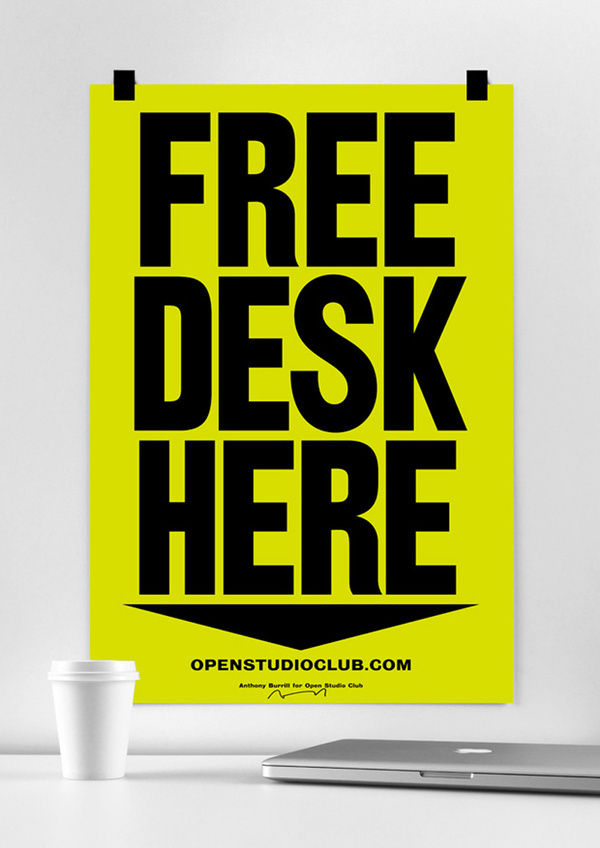Free Desk Here #burrill #free #anthony #desk #poster #typography