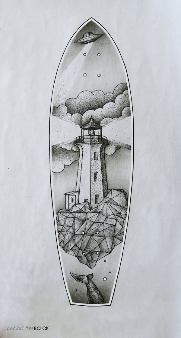 Behind the back #clouds #geometry #longboard #lighthouse #ba #ck #dots #chinese #ufo
