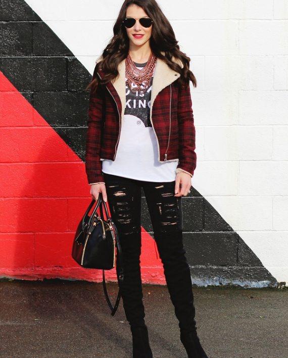 Streetwear Flannel Jacket With Fur Collar (3)