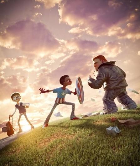 I Am Captain America! - 3D, Illustrations, wallpaper #nerd #bully #captain #hero #art #america #sunset #awesome