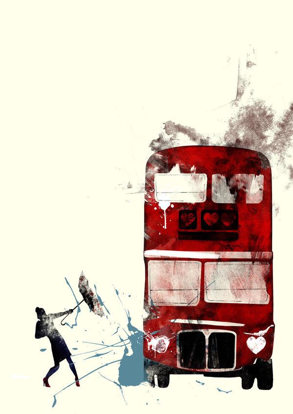 London Bus Graphic Print Illustration Rain Poster
