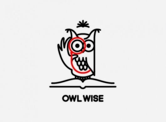 mkn design - Michael Nÿkamp #monicle #red #owl #wise #eyes #book #smart #illustration