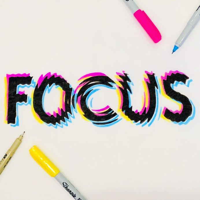 """Focus"" hand drawn typography by Jenna Bresnahan"