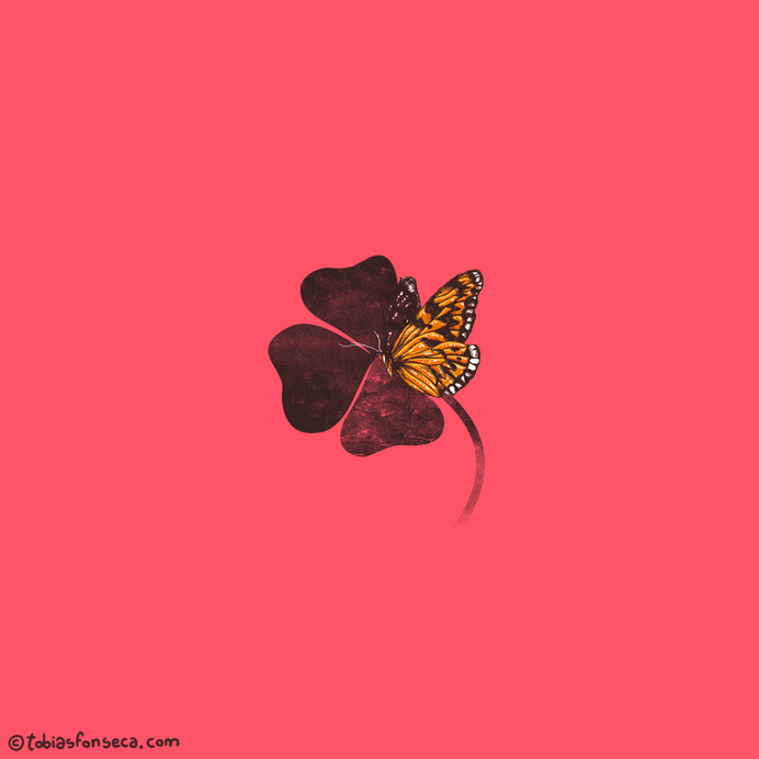 By Chance | Tobe Fonseca #luck #petals #leaf #pink #plant #chance #butterfly #fate #illustration #clover #nature #leaves