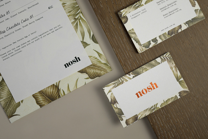 Nosh restaurant corporate design logo logotype branding identity deluxe luxury bar by Darling Visual Communications singapore mindsparkle ma