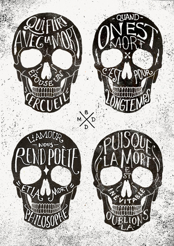 Skulls & Quotes #quotes #bmd #illustration #french #skulls #typography
