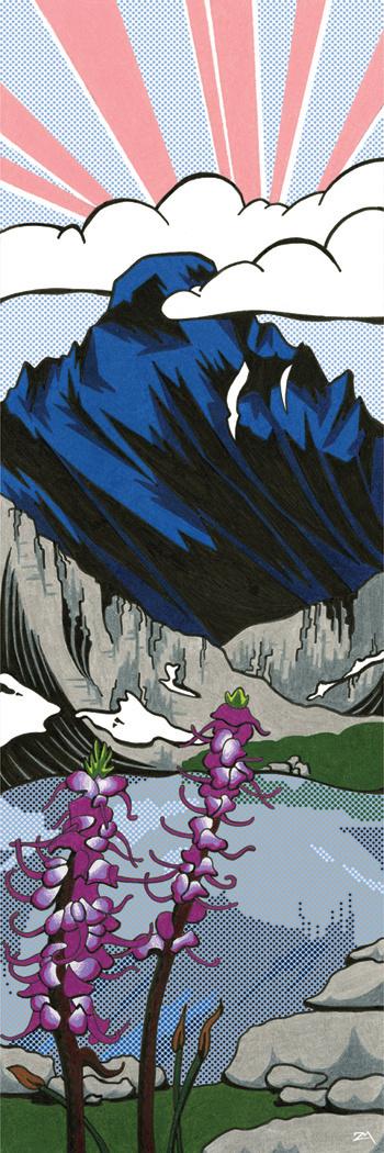 Longs Lichtenstein #mountain #colored #illustration #nature #scenery #lichtenstein #pencil #flowers