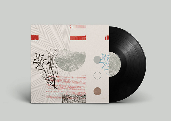Off Record on Behance #plants #montage #noa #record #vinyl #illustration #stain #music #joy #collage #mountains #emberson